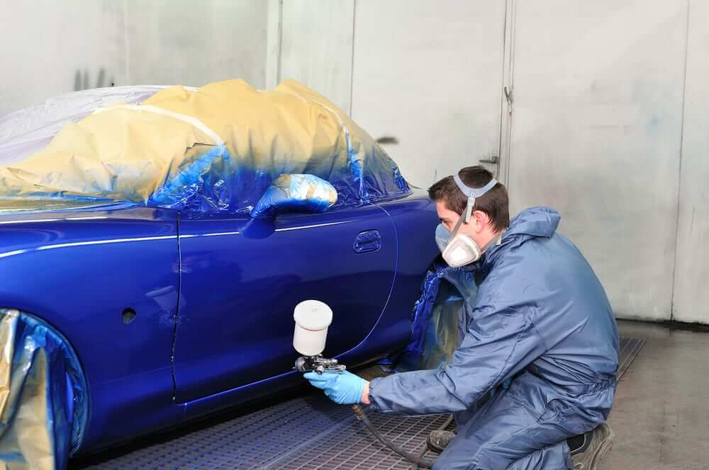 Painting Blue Car Door
