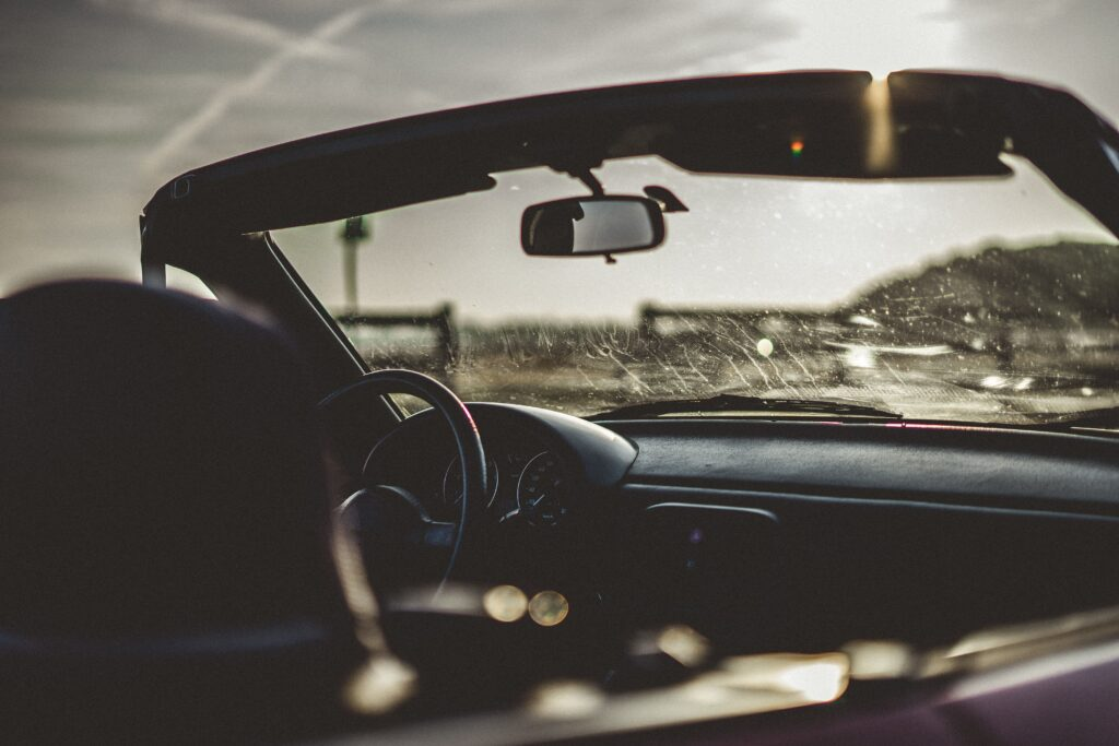 Behind view through the windshield of a convertable